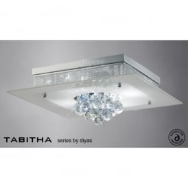 Tabitha 4 Light Polished Chrome Flush Ceiling Fixture with Frosted Glass
