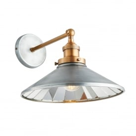 Tabyas Single Light Wall Fitting In Zinc And Antique Brass Finish
