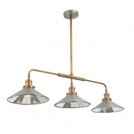 Tabyas Triple 7w LED Ceiling Pendant in Antique Zinc and Solid Brass Finish with Glass