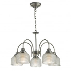 Tack 5 Light Ceiling Pendant in Antique Chrome Finish Complete with Textured Glass Shades