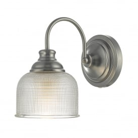 Tack Single Light Wall Fitting in Antique Chrome Finish Complete with Textured Glass Shade