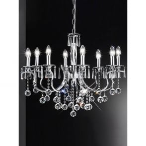 Taffeta 8 Light Chrome & Crystal Ceiling Fitting