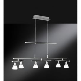 Talas 6 Light LED Rise & Fall Ceiling Fitting in Matt Nickel Finish