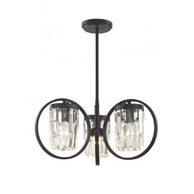 Talin 3 Light Flush Convertible Ceiling Pendant In Black And Clear Crystal Finish