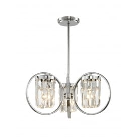 Talin 3 Light Flush Convertible Ceiling Pendant In Polished Chrome And Clear Crystal Finish