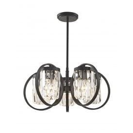 Talin 5 Light Flush Convertible Ceiling Pendant In Black And Clear Crystal Finish