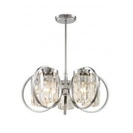 Talin 5 Light Flush Convertible Ceiling Pendant In Polished Chrome And Clear Crystal Finish