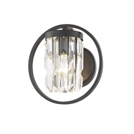 Talin Single Light Wall Fitting In Black And Clear Crystal Finish