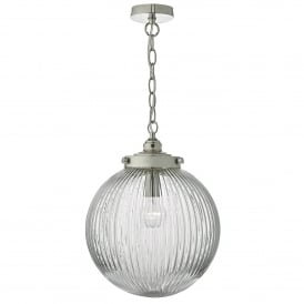 Tamara Single Light Ceiling Pendant in Satin Nickel Finish with Glass Shade