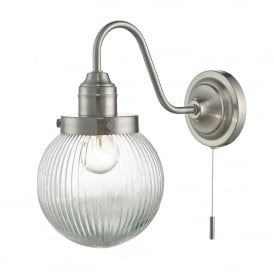 Tamara Single Light Wall Fitting in Satin Nickel Finish Complete With Glass Shade
