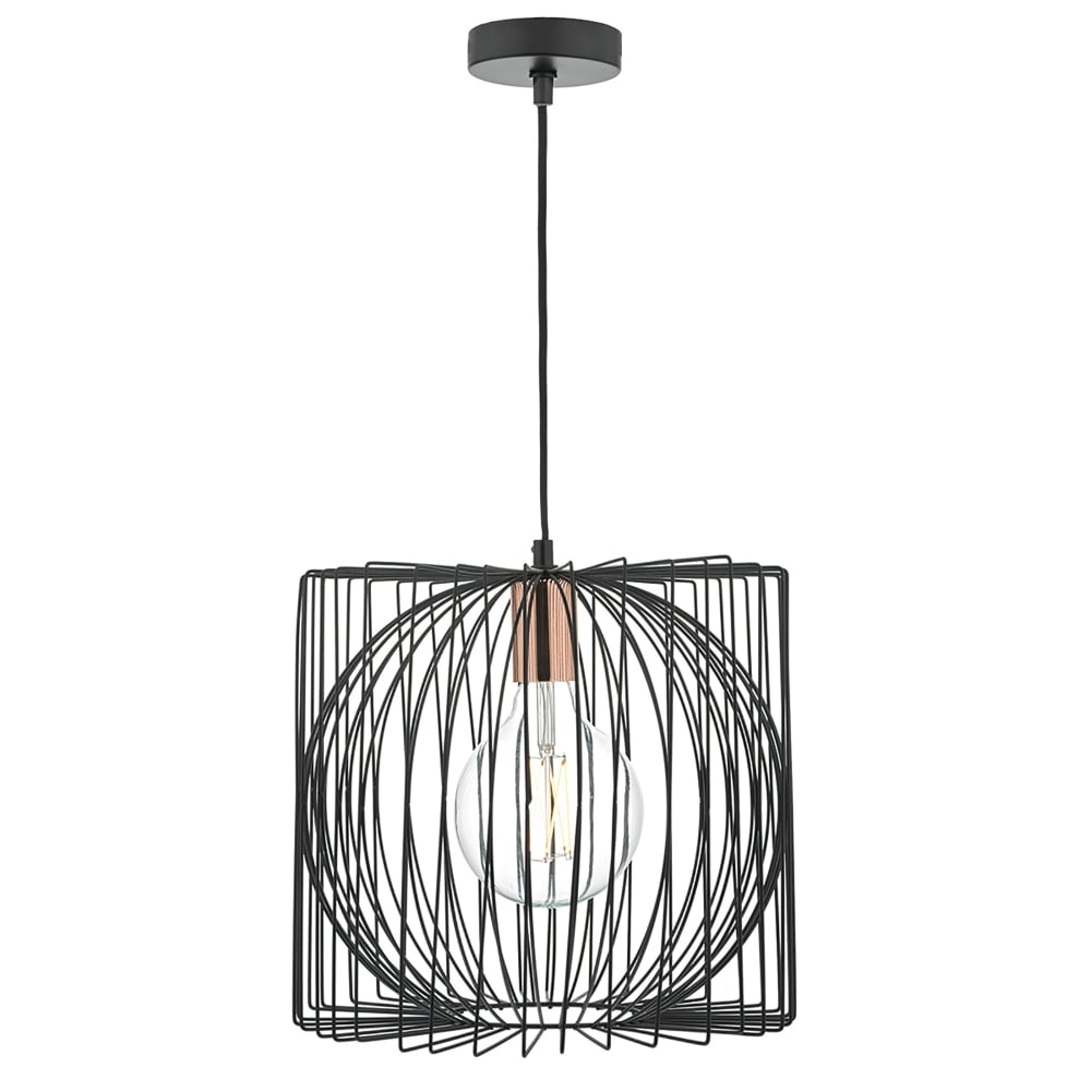 dar lighting taplow single light pendant in black and