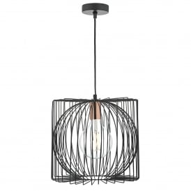 Taplow Single Light Pendant in Black and Copper Finish