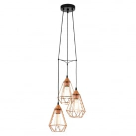 Tarbes 3 Light Ceiling Pendant in Black Steel and Copper Finish