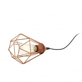 Tarbes Single Light Table Lamp in Black Steel and Copper Finish