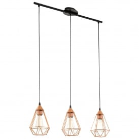 Tarbes Triple Light Ceiling Bar Pendant Made from Steel in Black and Copper Finish
