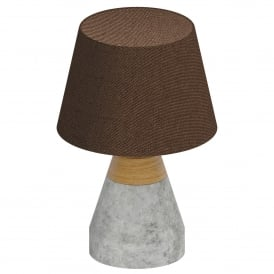 Tarega Single Light table Lamp In Grey Concrete And Wood Finish