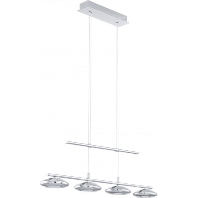 Eglo Lighting Tarugo 4 Light LED Rise and Fall Ceiling Pendant In Polished Chrome Finish