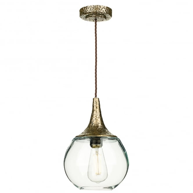 David Hunt Lighting Teardrop Single Light Ceiling Pendant in Bronze Finish with Clear Glass