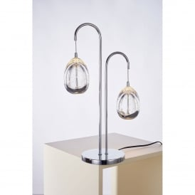 Terrene 2 Light LED Table Lamp in Polished Chrome and Clear Glass Finish