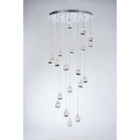 Terrene 20 Light LED Dimmable Ceiling Pendant in Polished Chrome and Clear Glass Finish