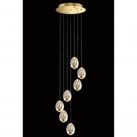 Terrene 7 Light LED Dimmable Spiral Ceiling Pendant in Gold and Clear Glass Finish