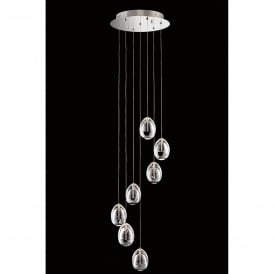 Terrene 7 Light LED Dimmable Spiral Ceiling Pendant in Polished Chrome and Clear Glass Finish