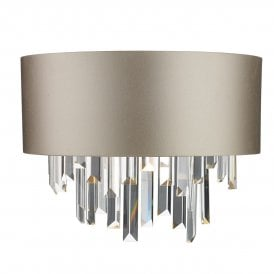 HUR0950-18-BZ Hurley Crystal 2 Light Switched Wall Fitting With 100% Silk Shade