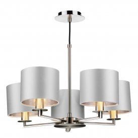 REX0538-16-SI Rex 5 Light Multi Arm Ceiling Pendant In Satin Nickel Finish With 100% Silk Shades