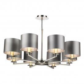 REX0838-21-SI Rex 8 Light Multi Arm Ceiling Pendant In Satin Nickel Finish With 100% Silk Shades