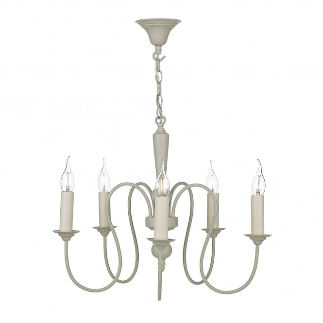 David Hunt Lighting Therese 5 Light Chandelier In French Cream Finish With Optional Candle Clip Shades