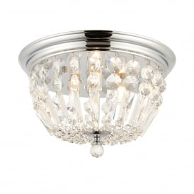 Thorpe 3 Light Semi-Flush Bathroom Ceiling Light in Polished Chrome Finish and Crystal Glass