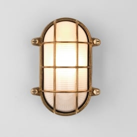 Thurso Single Light Oval Outdoor Wall Fitting in Natural Brass Finish