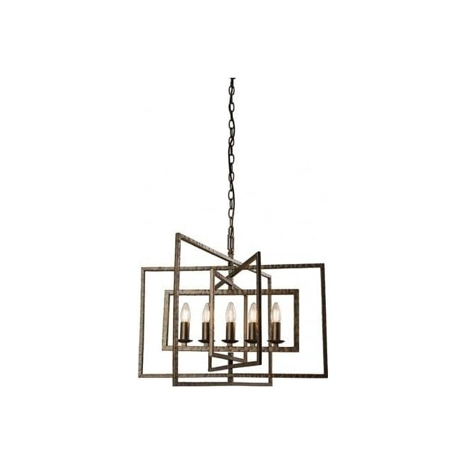 Endon Lighting Tibbet 5 Light Ceiling Pendant In Hammered Bronze Painted Finish