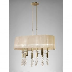Tiffany 12 Light Adjustable Ceiling Pendant in Antique Brass Finish With Soft Bronze Shade