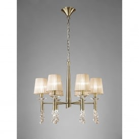 Tiffany 12 Light Adjustable Ceiling Pendant in Antique Brass Finish With Soft Bronze Shades