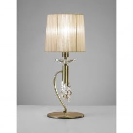 Tiffany 2 Light Table Lamp in Antique Brass Finish With Soft Bronze Shade