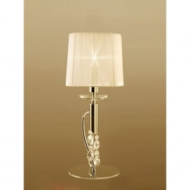 Tiffany 2 Light Table Lamp in French Gold Finish With Cream Shade