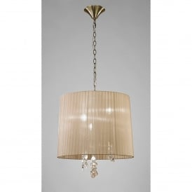 Tiffany 6 Light Adjustable Ceiling Pendant in Antique Brass Finish With Soft Bronze Shade