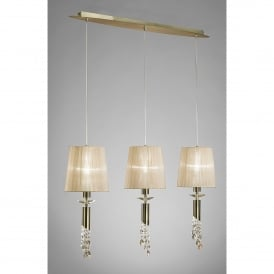 Tiffany 6 Light Line Adjustable Ceiling Pendant in Antique Brass Finish With Soft Bronze Shades