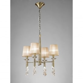 Tiffany 8 Light Adjustable Ceiling Pendant in Antique Brass Finish With Soft Bronze Shades