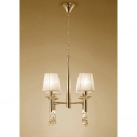 Tiffany 8 Light Adjustable Ceiling Pendant in French Gold Finish With Cream Shades