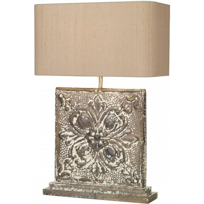 David Hunt Lighting Tile Single Light Large Square Table Lamp In Stone Bronze Finish