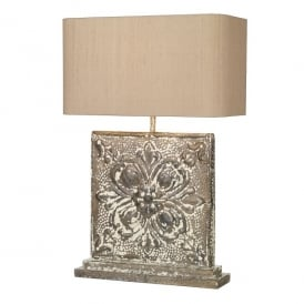 Tile Single Light Large Square Table Lamp In Stone Bronze Finish With Taupe Silk Shade