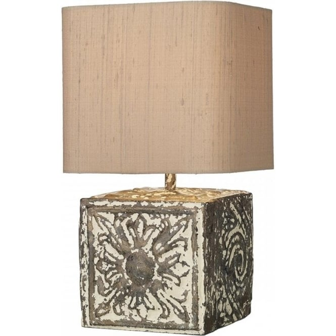 David Hunt Lighting Tile Single Light Small Cube Table Lamp In Stone Bronze Finish