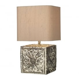 Tile Single Light Small Cube Table Lamp In Stone Bronze Finish With Taupe Silk Shade