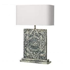 Tile Single Light Table Lamp Base Only in Blue Stone Finish