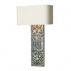 Tile Single Light Wall Fitting in Blue Stone Finish Complete with Ivory Silk Shade