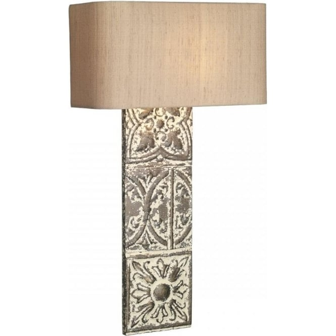 David Hunt Lighting Tile Single Light Wall Fitting In Stone Bronze Finish With Silk Shade