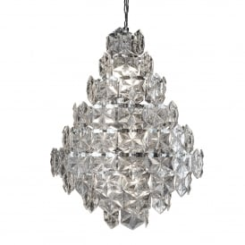 Tiles 11 Light Ceiling Pendant In Polished Chrome Finish With Clear Glass Detail Trim