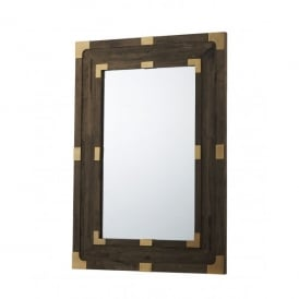 Timber Rectangular Mirror In Dark Wood Finish And Antique Copper Accents